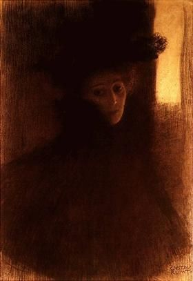 Lady with Cape and Hat - Gustav Klimt