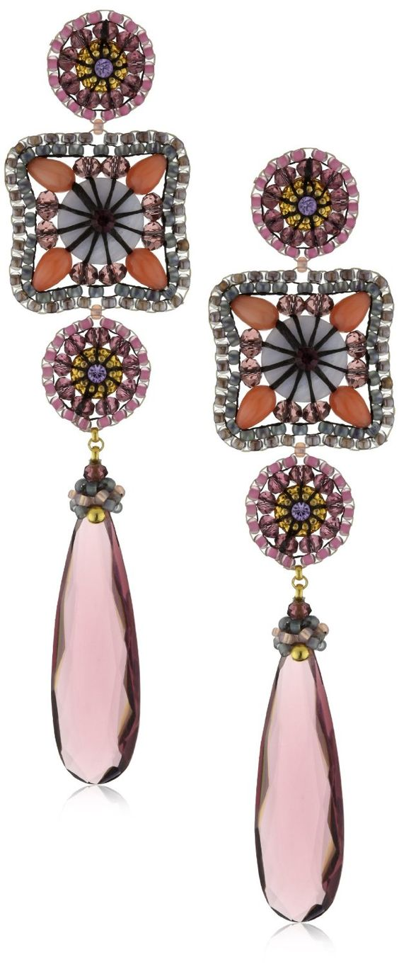 Miguel Ases Pink Coral and Blue Lace Agate Drop Earrings: