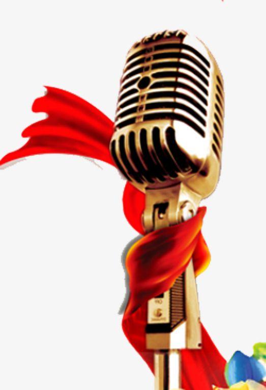 Golden Microphone Red Ribbon Free Stock Microphone Pull Png Png And Vector Karya Seni 3d Desain Logo Logo Keren