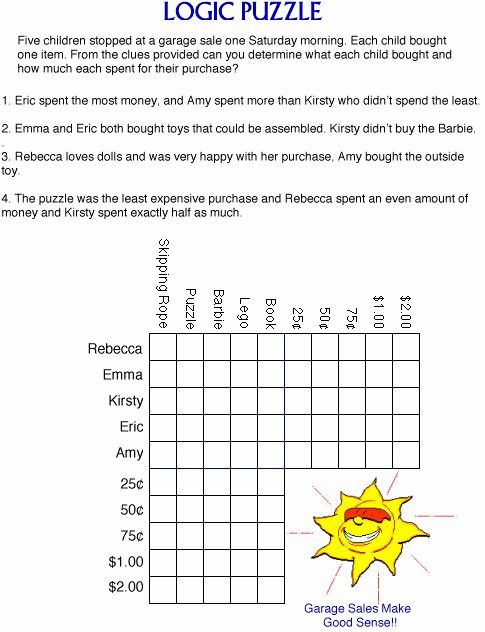 Printable Logic Puzzles Matematika
