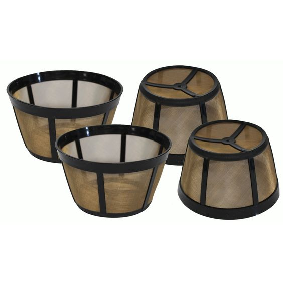 4 Gold-Tone Reusable Basket Coffee Filters