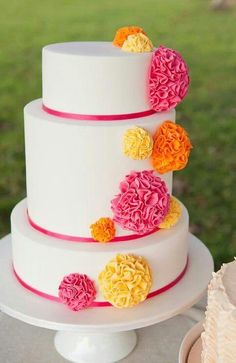 Pink Orange Wedding Cake