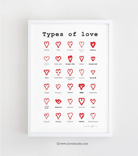 I love doodle: Types of Love - Art print, via Etsy.