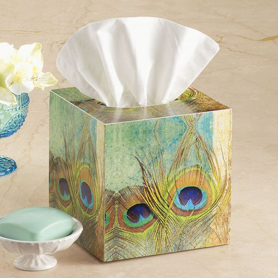 Peacock Feather Tissue Box - Stylish Home Accents and Décor - Graceful Clothing, Accessories & Jewelry: