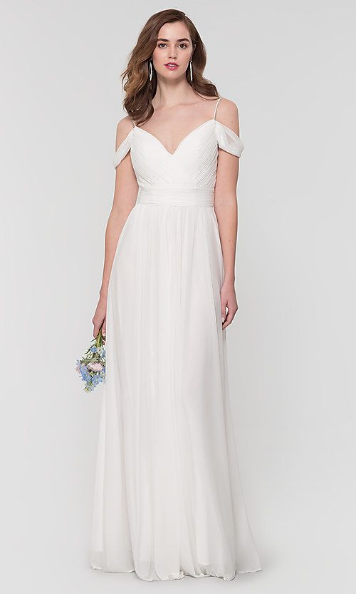 Kleinfeld Long Bridesmaid Dress With Beaded Straps Limited Availability Gorgeous Bridesmaid Dresses White Bridesmaid Dresses Bridesmaid Dresses Long Chiffon