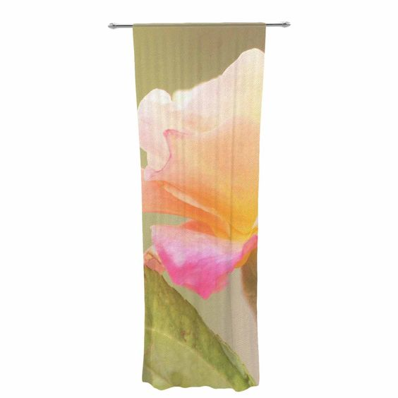 "Sylvia Coomes ""Rose In Full Bloom "" Orange Floral Decorative Sheer Curtain"