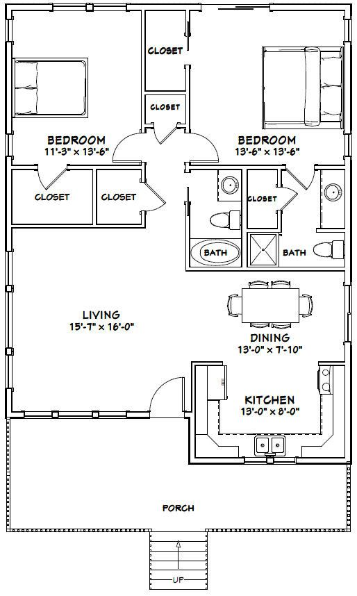 30x40 House 2 Bedroom 2 Bath 1 136 Sq Ft Pdf Floor Plan Instant Download Model 1b Small House Floor Plans 30x40 House Plans 2 Bedroom House Plans
