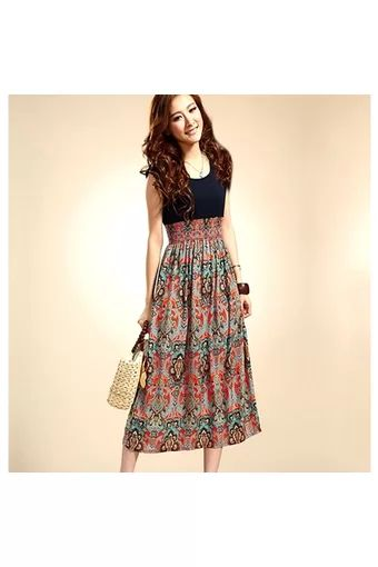 Buy Vintage Style Sleeveless High Waist Long Dress Red (EXPORT ...