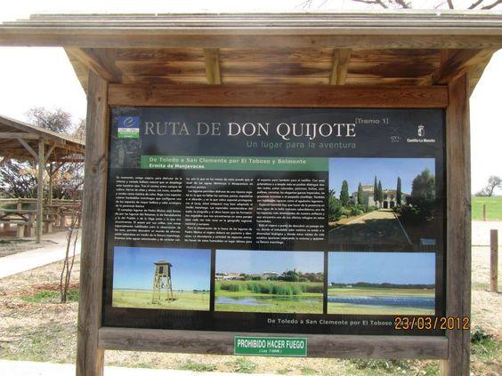 Panel informativo en el descansadero de la Ruta de El Quijote a su paso por Manjavacas