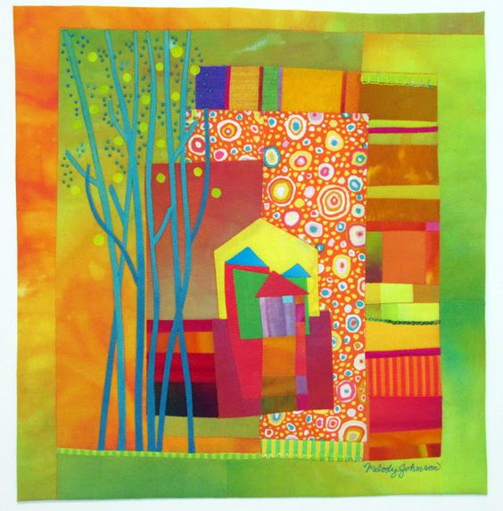 "Up the Street  Hand dyed cottons, silks, commercial cottons, fused, hand embroidered, machine quilted. 14"" x14.5"":"