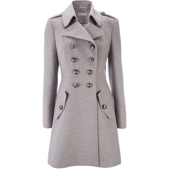 Grey Military Coat ($115) ❤ liked on Polyvore