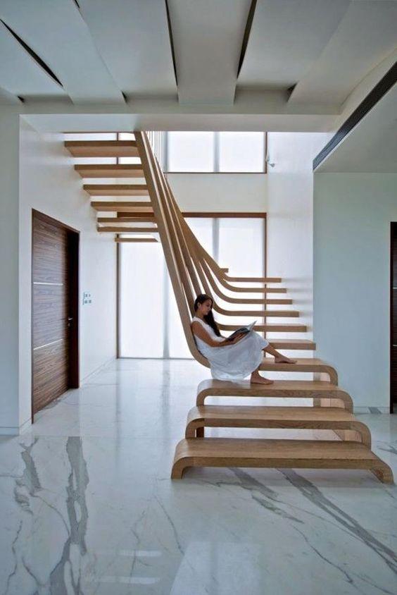 super moderne elegante treppen aus holz treppen pinterest. Black Bedroom Furniture Sets. Home Design Ideas