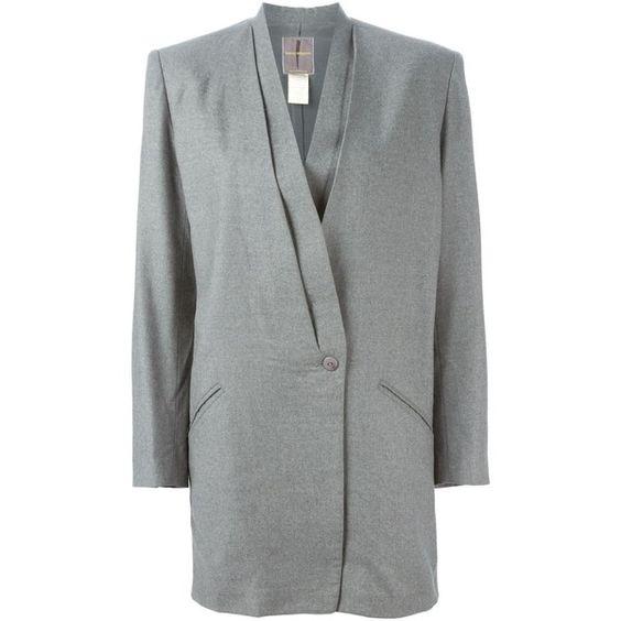 Issey Miyake Vintage Draped Blazer (11,965 MXN) ❤ liked on Polyvore featuring outerwear, jackets, blazers, grey, issey miyake, wool blazer, long sleeve jacket, draped jacket and long sleeve blazer
