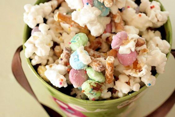 Bunny bait:  Popcorn, pretzels, M&Ms; and candy bark