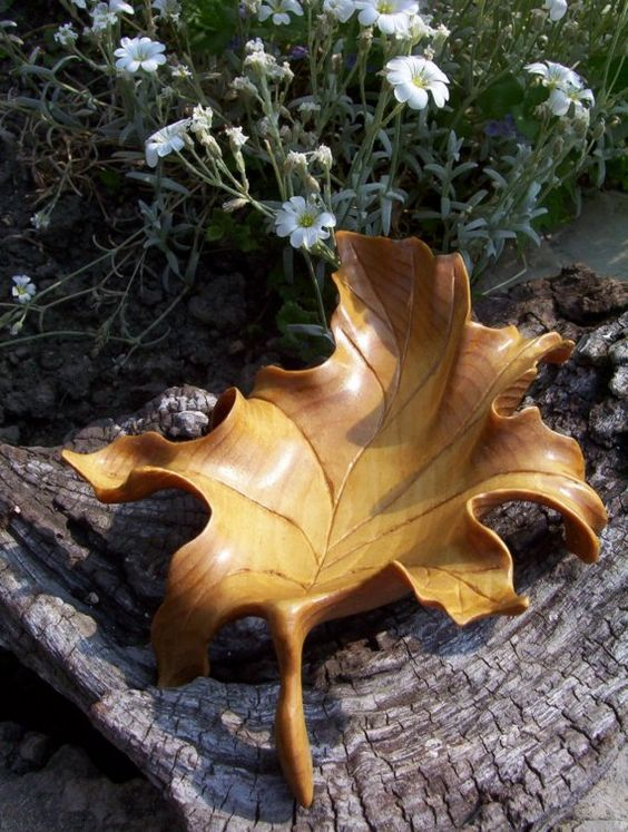 Hand carved maple leaf beautiful looking forward and