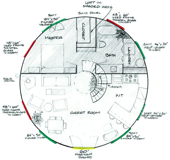 Yurt floor plan.: