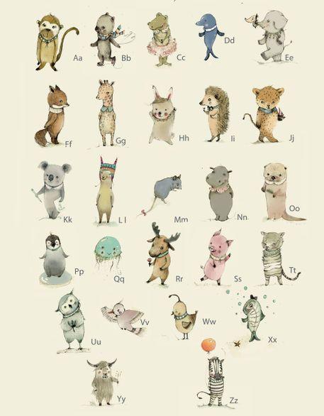 'German Animal Alphabet, Tier ABC' von Paola Zakimi bei artflakes.com als Poster oder Kunstdruck $16.63