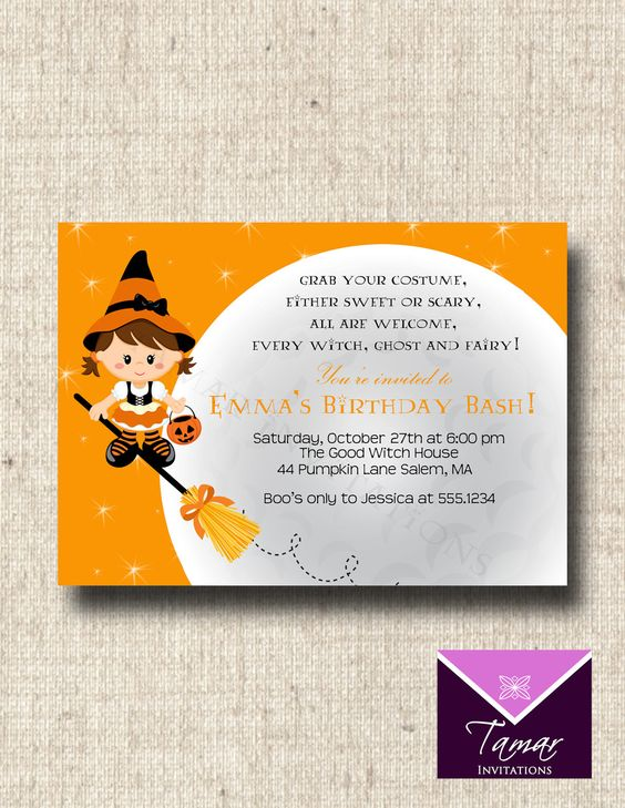 I <3 her stuff!! Perfect for the party!!    Printable Halloween Invitation - Cute Childrens Halloween Birthday Party. $8.00, via Etsy.