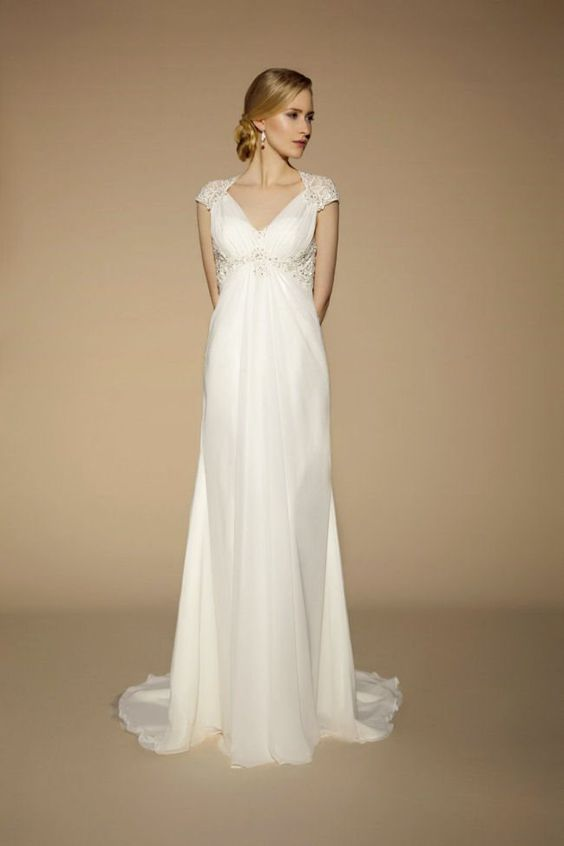 Tia by benjamin roberts v neck wedding gown gorgeous for Best wedding dress for wide shoulders