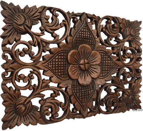 lotus flower wood carving wall art