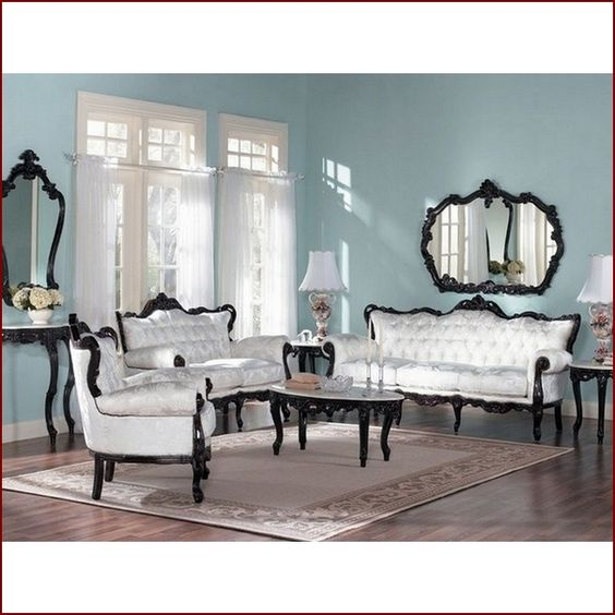 White Fabric French Provincial Living Room Set With Walnut Color Frame For The Home