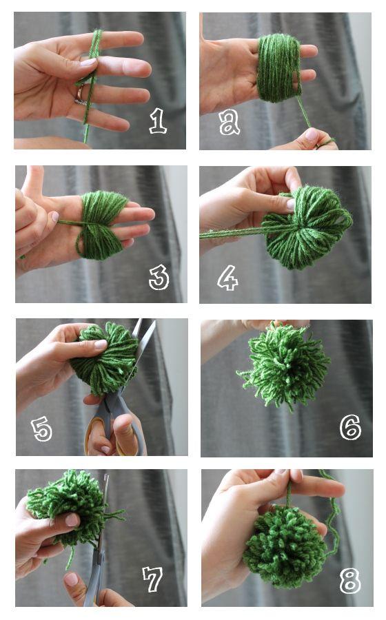Cómo hacer pompones sólo con las manos. Tutorial.