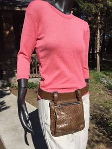 Launch Brown Leather Belt Bag Adjustable Textured Zip Front Mint Free SHIP | eBay