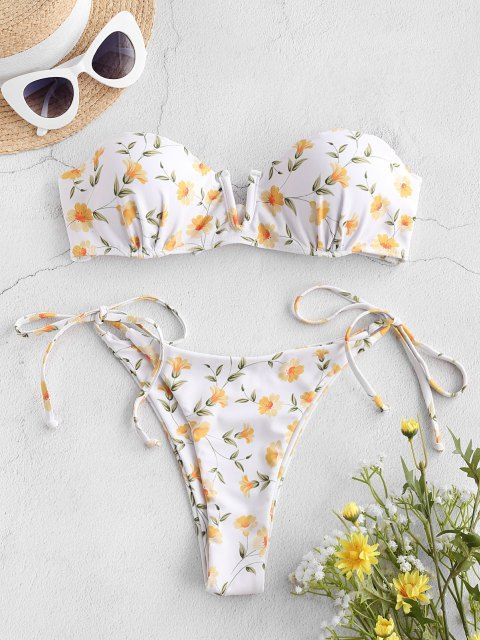 Bikini para Mujer con Lazos Estampados ZAFUL