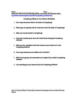 Civil War: Gettysburg Address in 4 Minutes Video Worksheet | Four ...