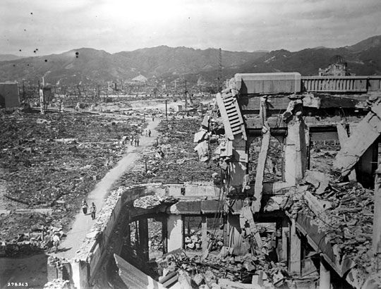 Hiroshima's City Hall stands empty, gutted by fire, some 3,000 feet (915 meters) from the hypocenter.