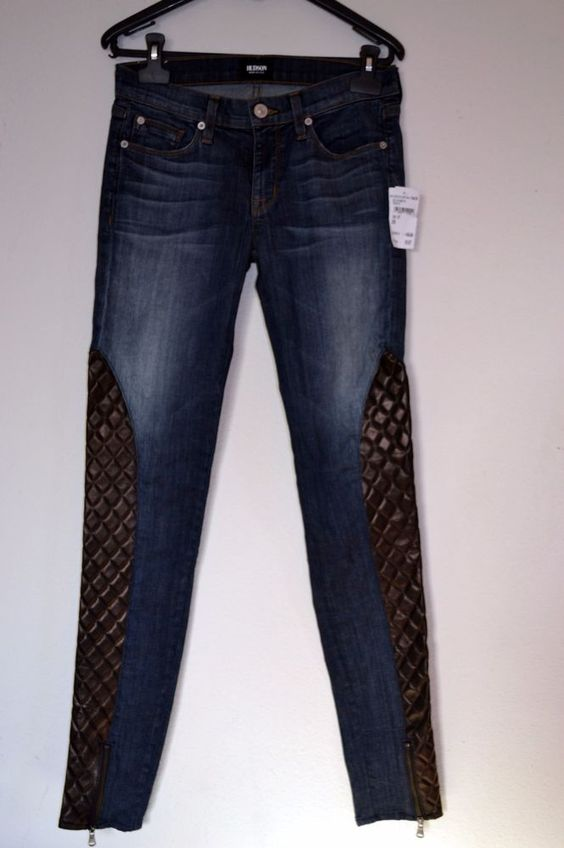 Nordstrom Rack Hudson Jeans Quilted Leather Zipper Bottom Size 26 1-2 Skinny NWT #Nordstrom #SlimSkinny
