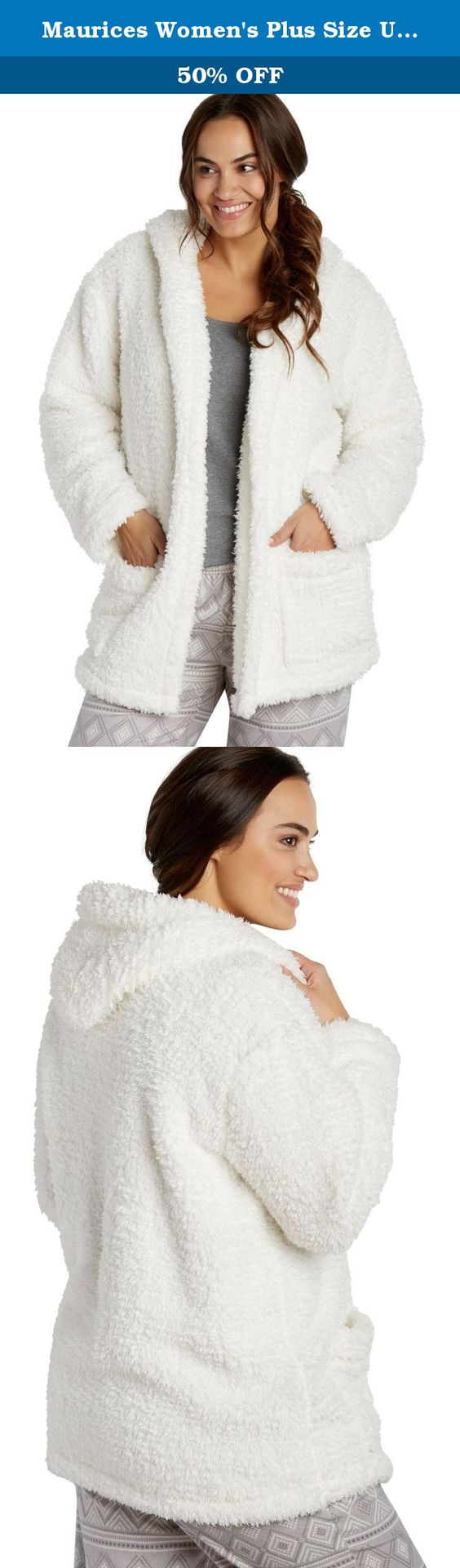 Maurices Women's Plus Size Ultra Soft Faux Sherpa Sleep Robe One Size Soft White. Plus size ultra soft faux sherpa sleep robe. Fabric and care: imported 100% polyester machine wash.