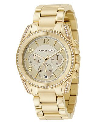 Michael Kors Watch, Women's Blair Gold-Tone Stainless Steel Bracelet 39mm MK5166 - For Her - Jewelry & Watches - Macy's