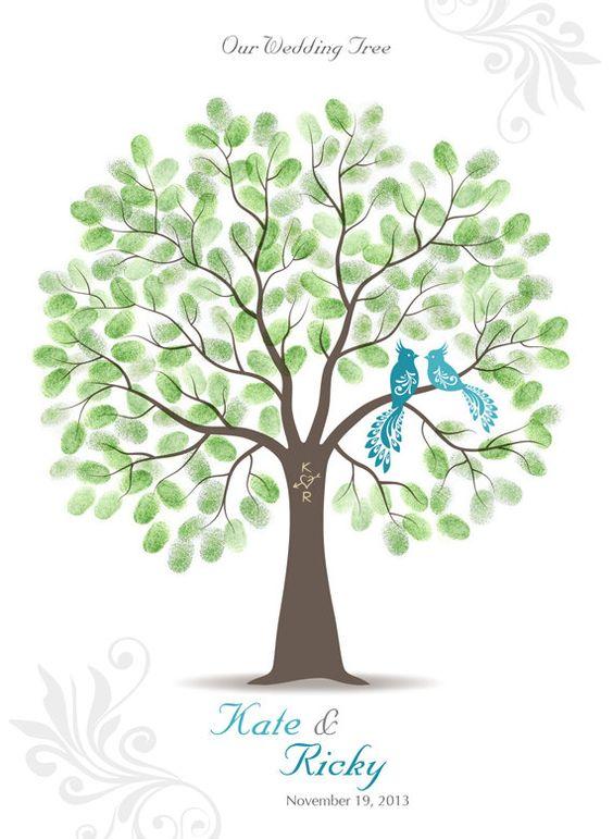 Thumb Print Wedding Tree Guest Book Poster