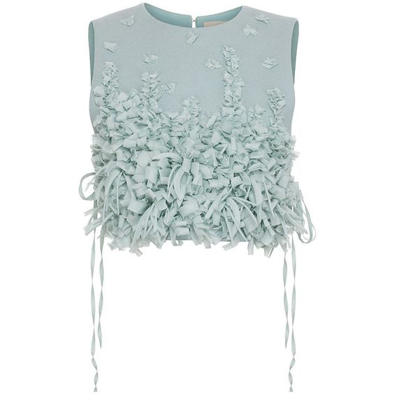 Ruban Embellished Heavy Cloth Chemisette (€1.755) ❤ liked on Polyvore featuring tops, crop top, green crop top, embellished tops, embellished crop top, chiffon sleeveless top and chiffon top