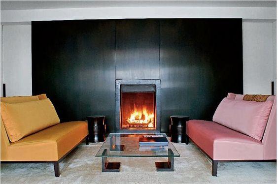 Couple of Christian Liaigre sofas and a nice warm fire anyone??