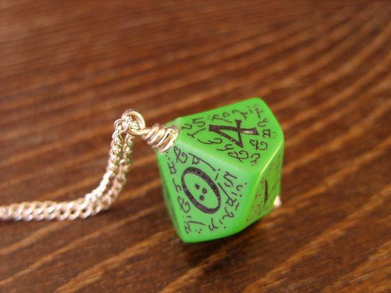 elf dice pendant elvish D10 dice rgp larp green by MageStudio, $20.00