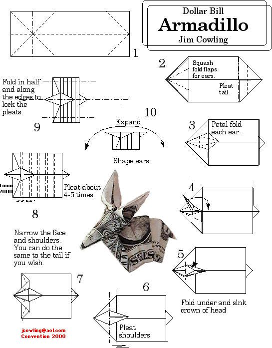 money origami armadillo - dollar bill art