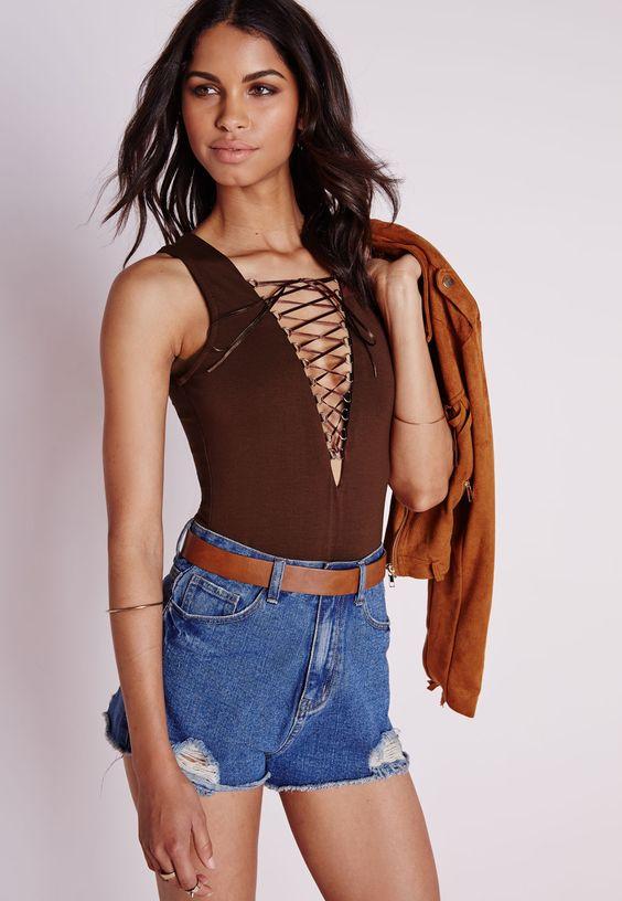 Lace Up Bodysuit Brown Brown £8.00 AT vintagedancer.com