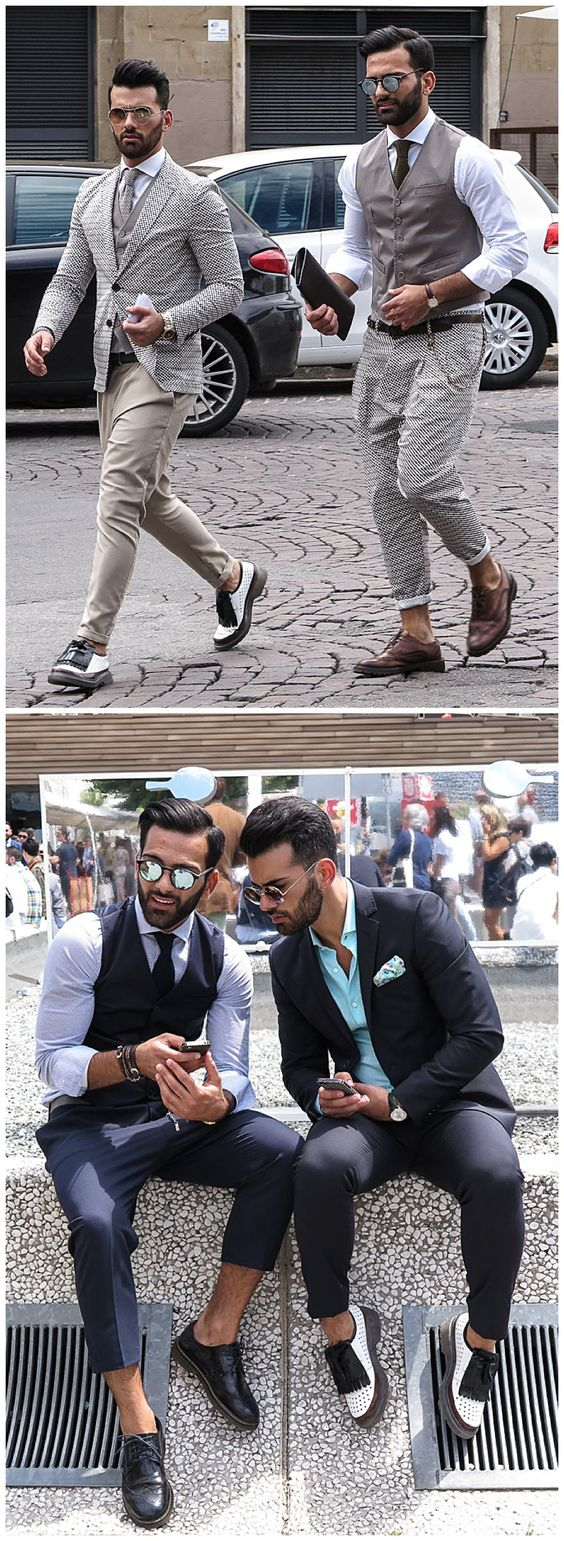the stylish gentlemen often travel in pairs, so they can take photos of one another for their multi-k instagram accounts. --- Pitti Uomo