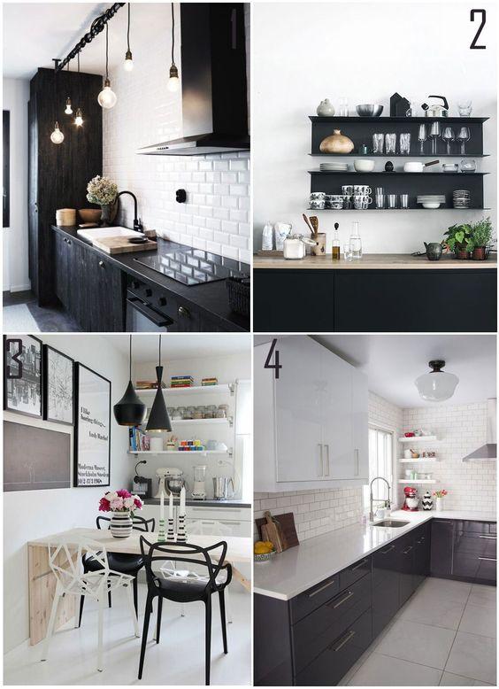 Decoração Preto e Branco - Cozinhas: