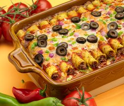 TAQUITO-ENCHILADA BAKE- How super easy is this? Made quickly from things you can keep on hand. Everyone needs a few instant meals.