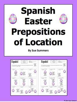 Spanish Easter Prepositions Easter Bunny and Egg - El Conejo de ...