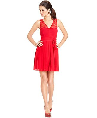 GUESS Illusion Lace Pleated Dress - Dresses - Women - Macy's