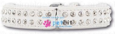Ganz in weiß mit Funkelsternen. Mach Deinen Hund mit Lederhalsbändern von Petbit.de zum Star! Swarovski Strass Extreme White/White 30 mm Hundehalsband aus echtem Leder. Aussen besetzt mit funkelnden Strasssteinen von Swarovski und innen mit weichem