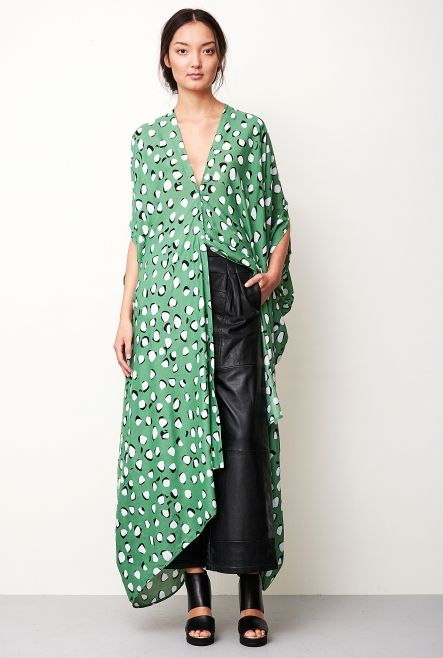 CAFTAN AGAVE NUT BIRCH GREEN in the group All items / Dresses at Rodebjer Form AB (1300185507)