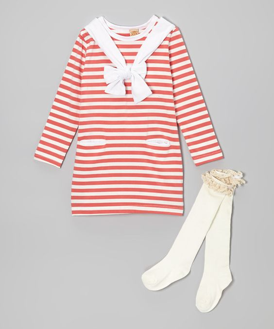 Take a look at this Mia Belle Baby Pink & White Stripe Bandanna Dress & Knee Socks - Toddler & Girls on zulily today!