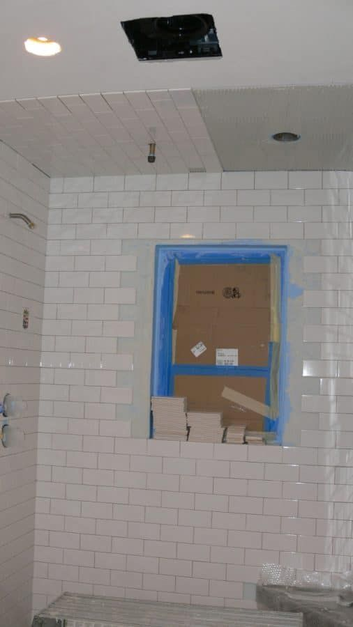 Almost Finished Setting Tiles On Shower Walls And Ceiling Shower Tile Shower Ceiling Tile Ceiling Tiles Bathroom