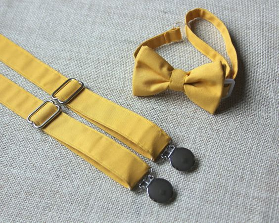 solid gold mustard yellow bow tie and suspenders set