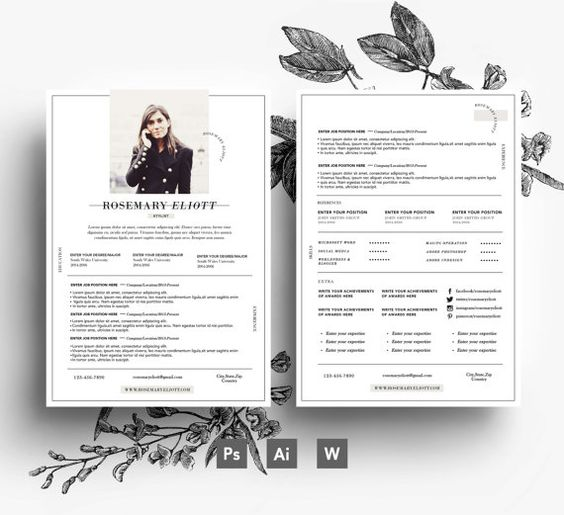 Professional CV template/ Business card + 2 page + Cover letter ...